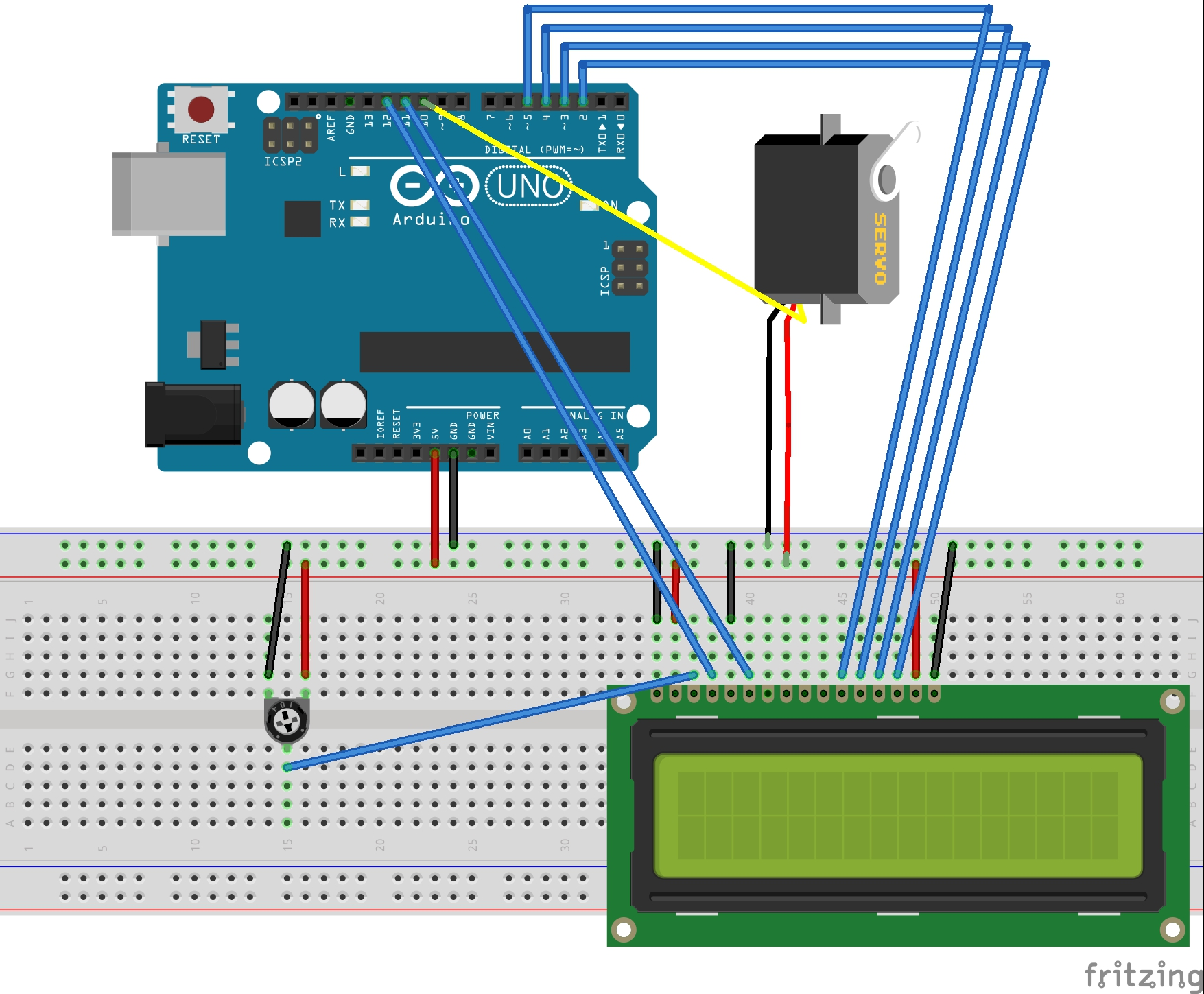 Arduino: Servo and LCD 2x16 — [biicode docs]